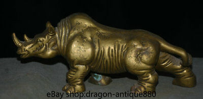 """8.8"""" Old Chinese Bronze rhinoceros Cattle Ox Bull Animal Statue Sculpture"""