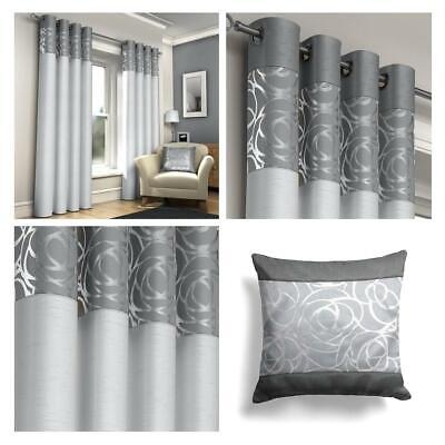 Silver Eyelet Curtains Grey Skye Metallic Ready Made Ring Top Curtain Pairs