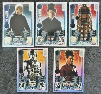 Bundle Lot of 5 Rainbow Foil Trading Cards Doctor Who Alien Attax 50 Anniversary