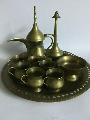 Vintage Arabic 10 Pieces Middle Eastern Tea Set Service Coffe Copper