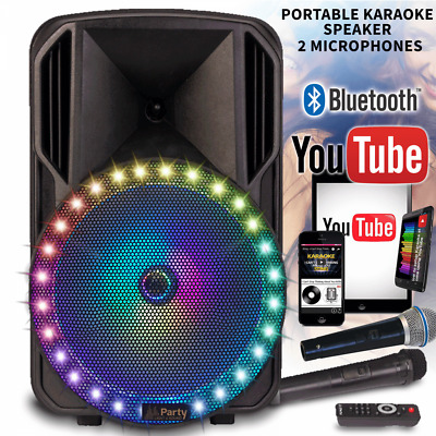 "Portable Bluetooth Karaoke Machine Vocal PA Speaker 12"" 300w 2 Mics Star LEDs"