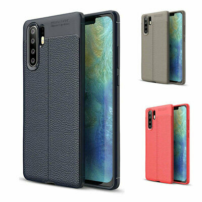 For Huawei P30 Pro Mate 20 Shockproof Leather Rubber Slim TPU Case Back Cover