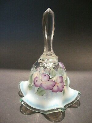 Vintage Fenton Art Glass White Opalescent Bell Hand Painted Flowers Signed