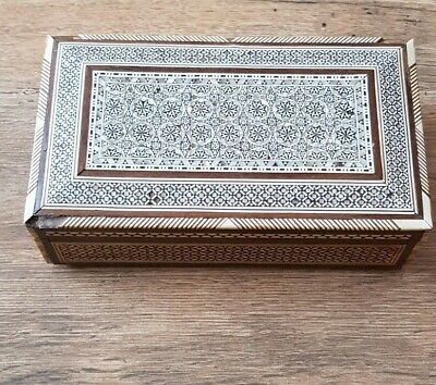 Old Persian Khatam Micro Mosaic & Mother Of Pearl Inlaid Marquetry Box