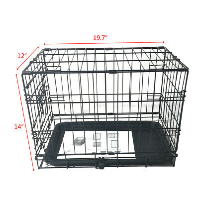 "20"" Pet Kennel Cat Dog Folding Steel Crate Animal Playpen Wire Metal Cage Tray"