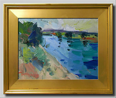 JOSE TRUJILLO FRAMED Oil Painting IMPRESSIONISM RIVER SIGNED NATURE 11X14 CANVAS