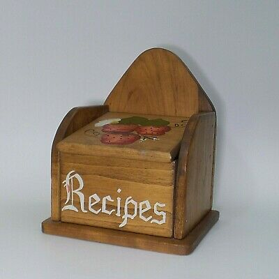Vintage Wood Country Recipe Box Hand Crafted with Strawberries Holds 5x3 Cards