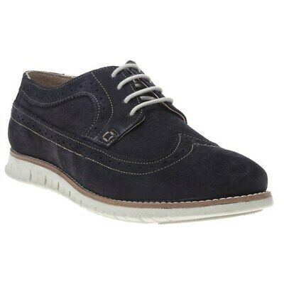 New Mens Lotus Navy Connor Suede Shoes Brogue Lace Up