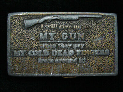 QG23117 VINTAGE 1970s *I'LL GIVE UP MY GUN WHEN...* SECOND AMENDMENT BELT BUCKLE