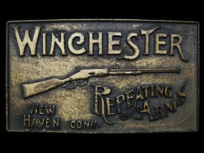 LF23119 COOL VINTAGE 1970s **WINCHESTER REPEATING ARMS** GUN BELT BUCKLE