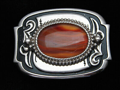QD07162 VINTAGE 1970s **TIGER EYE STONE** WESTERN & COWBOY DESIGN BELT BUCKLE