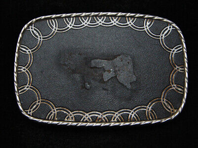 RB13122 VINTAGE 1970s **RING OF CIRCLES** FASHION ART SILVERTONE BELT BUCKLE