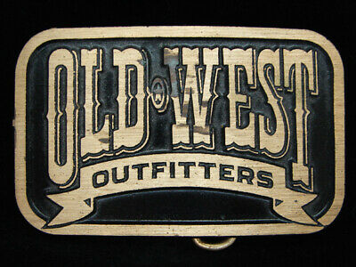OE13157 VINTAGE 1970s **OLD WEST OUTFITTERS** SOLID BRASS BELT BUCKLE