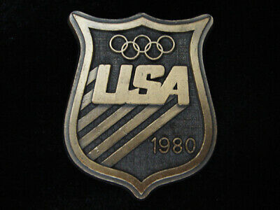 Ql17142 Vintage 1980 **United States Olympic Committee** Sports Belt Buckle