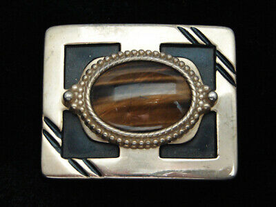 QG23167 VINTAGE 1970s **TIGER EYE STONE** WESTERN & COWBOY DESIGN BELT BUCKLE