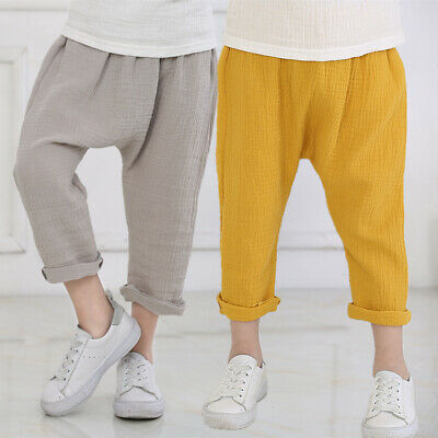 Kids Summer Linen Harem Pants Elastic Waist Girls Baby Boys Trousers Loose