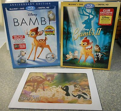 Bambi / Bambi II (Blu-ray/DVD 2017 2-Disc Sets Signature Edt) W LITHOGRAPH NEW