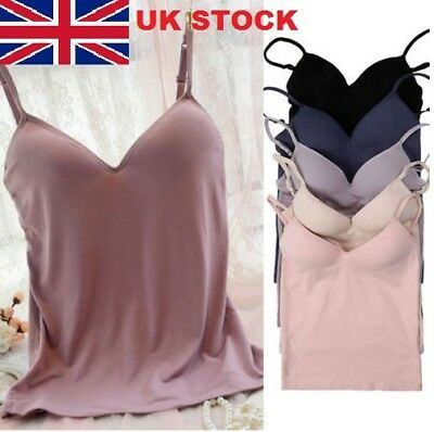 Womens Sexy Adjustable Strap Built In Bra Padded Bra Tank Tops Camisole Vest