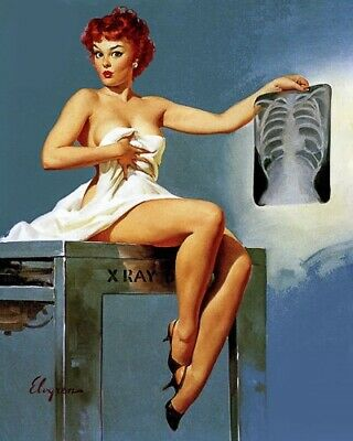 GIL ELVGREN 8x10 PINUP GIRL MATTE PRINT- X-Ray Girl Nude,Legs,Large Breasts