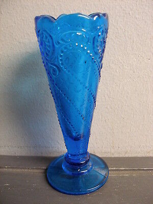 Antique Eapg Pressed Glass Fluted Vase Scalloped Rim Beaded Art Nouveau Stars