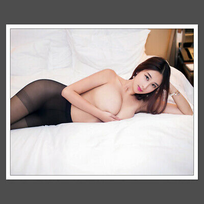 Glossy 8x10 Photo Sexy Busty Asian Model In Black Pantyhose S12