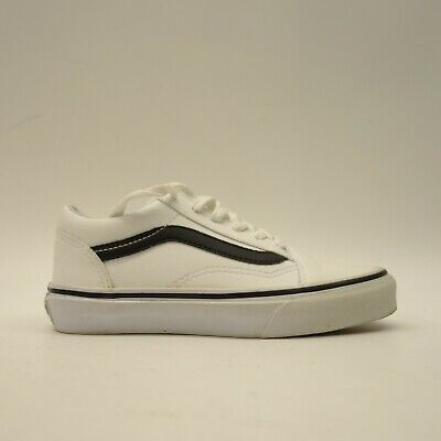 Vans Kids US 1.5 EU 32 Old Skool White Classic Lace Up Leather Sneaker Shoes