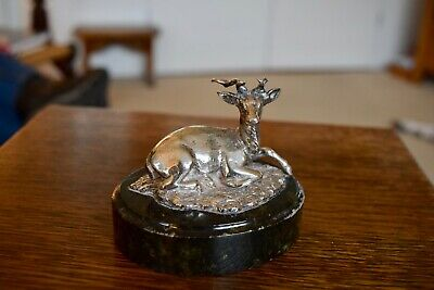 Victorian Silver Plated Figure Of A Recumbent Stag On A Granite Base