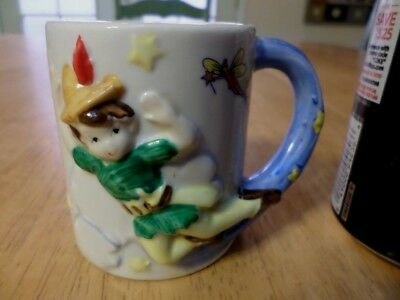 DISNEY- PETER PAN, [3-D] IMAGES, Ceramic Coffee Cup, VINTAGE TAIWAN #1960's yrs.