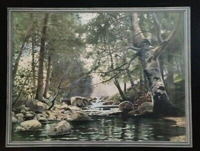 "Vintage De Luxe Reproductions print of ""Forest Brook"" by F. Grebe. 16"" x 12"""
