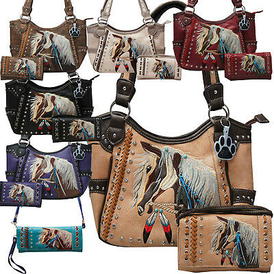 Western Horse Handbag Feather Tassel Embroidered Concealed Carry Purse Wallet