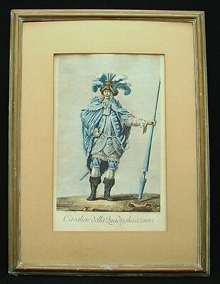 Etching Production Gravure Italian Cavalier Hand Painted Color Dated 1769
