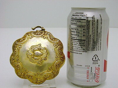 Greek or Ottoman Sterling Silver Sash Buckel with Gold Wash & Heart Crest 2.6oz