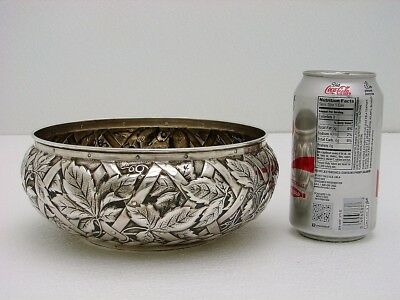 Whiting Sterling Silver Bowl Trompe L' Oeil Grape Ivy & Leaf Basket Marked c1890