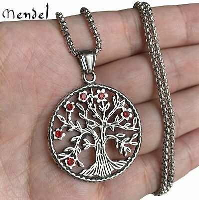 MENDEL Celtic The Tree of Life Pendant Necklace Red Diamond Stainless Steel Gift