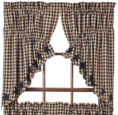 Navy Star Lined Prairie Swag Curtains 72WX36LCotton Scalloped Khaki Check VHC