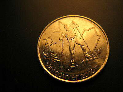 Canada 2009 Vancouver 2010 Olympics Cross Country Skiing 25 Cent Mint Coin.