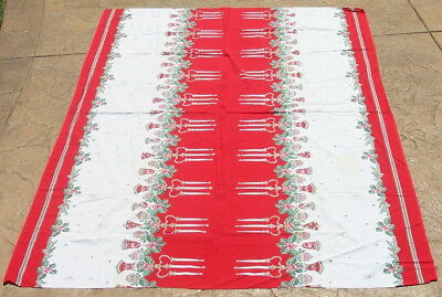 Vtg Bright Christmas Table Cloth Ornament Floral Candles Holly Tablecloth Retro