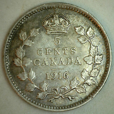 1916 Canadian Silver 5 Cents Coin Five George V Canada Type Coin Extra Fine XF2