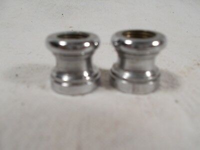 Vintage pair 5/8in Nickle over Cast Brass Oil  Electric Lamp Threaded Spacers