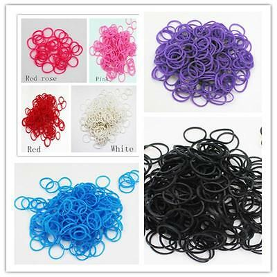 600 Pcs Kids Rubber Bands 24 Clips 1 Hook Colorful Loom Refill Candy Color Z @GE