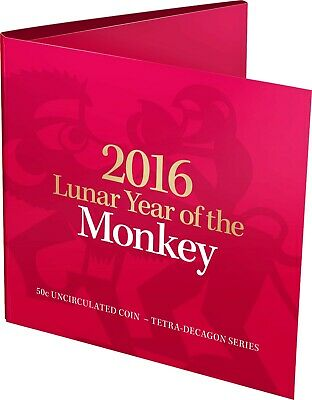 2016 50c Lunar Year of the Monkey Tetra-decagon Unc Coin - in red folder