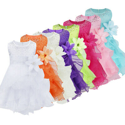 Baby Girls Rhinestone Princess Wedding Pageant Party Ruffle Flower Girl Dress