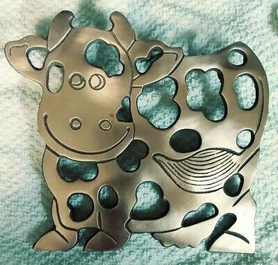 VTG Vintage Copper Cow holstein trivet wall hanging hot plate Decor Country