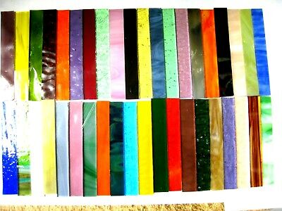 40 Mixed Mosaic Tile Strips 100mm x 15mm Stained Glass Pieces