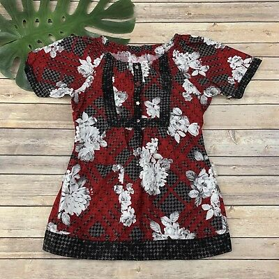 d29be3626cc Koi Womens Floral Scrub Top Size XS Red Black Roses Short Sleeve Semi Fitted