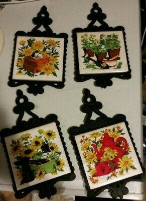 Set Of 4 Vintage Cast Iron Hot Plate Holders With Ceramic Tile Center