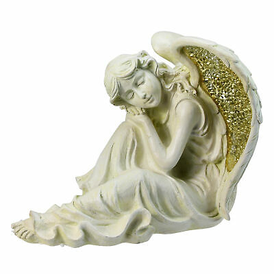 """Northlight 12"""" Distressed Ivory Golden Mosaic Glass Winged Resting Angel Outdoo"""