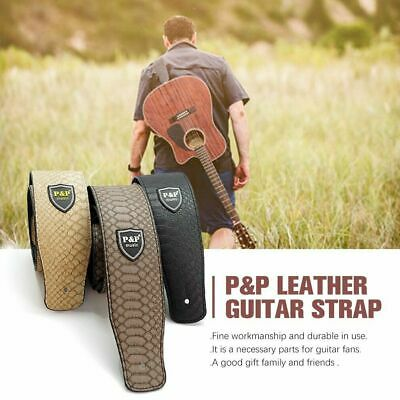 Adjustable Acoustic Classic PU Leather Electric Guitar Strap Belt Basses B7K5J