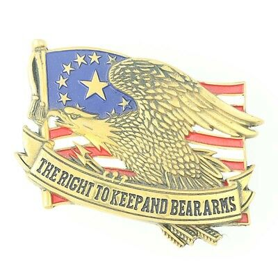 Patriotic Belt Buckle Brass 2nd Amendment Right to Bear Arms Baron Buckles USA