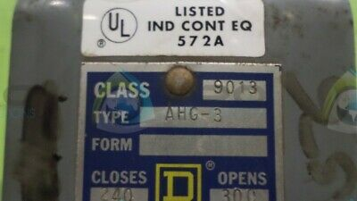 Square D Ahg-3 Pressure Switch *Used*